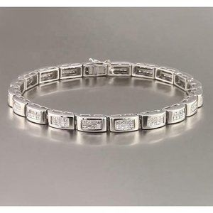 Jewelry - Princess Cut Sapphires Mens Tennis Bracelet 8 Cara